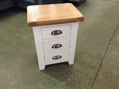 Hampshire White Painted Oak Large 3 Drawer Bedside Table (F94 - -KEL P03-82)