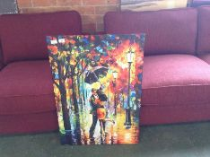 Hokku Designs,Dance Under the Rain by Leonid Afremov Painting Print on Wrapped Canvas RRP -£34.99(