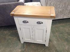 Hampshire White Painted Oak 2 Door Mini Sideboard (DAMAGE-to side)(KEL P30-82-E100)