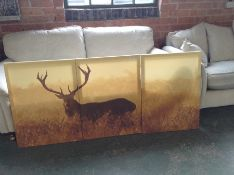 East Urban Home,'Giant Tree in the Jungle' 3 Piece Red Deer Stag at Twilight Wall Art on Canvas