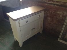 Suffolk White Painted Oak 2 Door Mini Sideboard (DAMAGE- back right leg)(TT-SMS-W-E11)