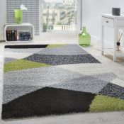 17 Stories,Demi Shag Grey/Green Rug RRP -£65.99 (140x200) (19402/3 -ALAS6546)