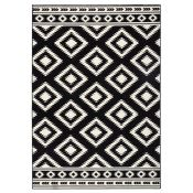 Hanse Home,Ethno Rug in Black/Cream RRP -£37.99 (80x300) (19402/19 -HEHM1423)
