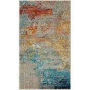 17 Stories,Adonis Blue/Yellow Area Rug RRP -£89.99 (160x221) (12294/17 -PKQ2910)