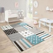 Harriet Bee,Concetta Grey/Blue Rug RRP -£62.99 (140x200) (12294/3 -ALAS6621)