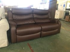 BROWN LEATHER ELECTRIC RECLINING SPLIT 3 SEATER SO