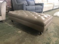 BEIGE LEATHER BUTTON BACK FOOTSTOOL (TR002059 / W0