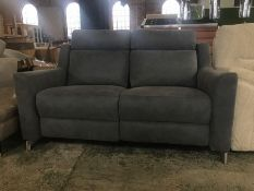 GREY LEATHER ELECTRIC RECLINING 2 SEATER SOFA WITH
