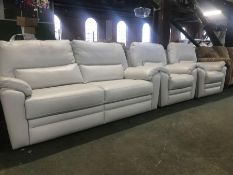 CREAM LEATHER FIXED 3 SEATER SOFA & X2 FIXED CHAIR