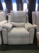 BEIGE PATTERNED ELECTRIC RECLINING HIGH BACK CHAIR