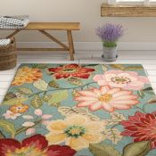 Brambly Cottage,Cinderford Hand-Hooked Green/Red Area Rug RRP -£128.99 (3'6 x5'6ft) (14006/42 -