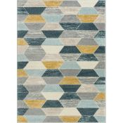 Well Woven,Mystic Blue/Grey/Yellow Rug RRP -£33.99 (120x160cm)(14006/44 -XBRB1005)