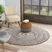 Birch Lane,Bernard Hand-Woven Brown/Blue Area Rug RRP -£202.99 (8ft ROUND) (14006/2 -BLNE1016)
