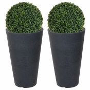 The Seasonal Aisle, Tabletop Boxwood Grass in Pot (CHARCOAL GREY)(SET OF 2) - RRP £82.99 (UBCF1041 -