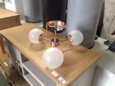  x1  Globle Fluch Pendant Copper Frosted Glass (Damage)  RRP-   NO CODE 