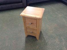 Gloucester Oak 2 Drawer Narrow Bedside Table (F69