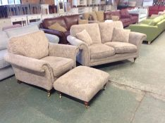 BEIGE FLORAL PATTERENED 2 SEATER SOFA, CHAIR & FOO