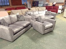 LIGHT GREY SADDLE 3 SEATER SOFA, 2 SEATER SOFA & S