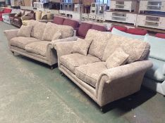 BEIGE FLORAL PATTERNED 3 SEATER SOFA & 2 SEATER SO
