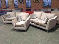 BEIGE FABRIC X2 3 SEATER SOFA & CHAIR WM20 K153