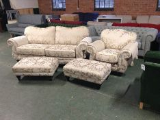 GOLD & FLORAL PATTERNED 3 SEATER SOFA,CHAIR & X2 F