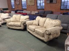 GOLD & FLORAL PATTERNED 3 SEATER SOFA & 2 SEATER S