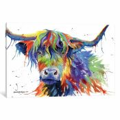 East Urban Home, 'Highland Cow Colour' Painting on Canvas - RRP £43.99 (JMND1404 - 20819/25) 1A