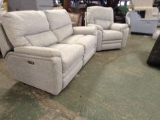 GREY PATTERNED ELECTRIC RECLINING 3 SEATER SOFA AN