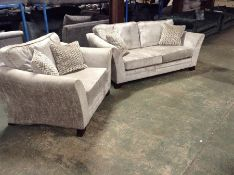 SILVER FABRIC 3 SEATER SOFA AND SNUG CHAIR (DITY M