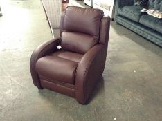 BROWN LEATHER ELECTRIC RECLINING CHAIR (TROO2085-W