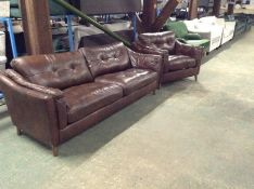 BROWN LEATHER 3 SEATER SOFA AND CHAIR (SCUFFED ON