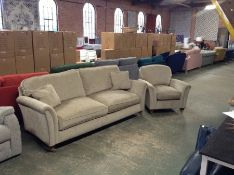BEIGE FABRIC 3 SEATER SOFA AND CHAIR (TR002067 W00