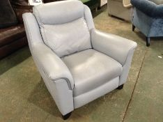 BLUE LEATHER ELECTRIC RECLINING CHAIR (DIRTY MARK