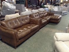 TAN LEATHER 2 PART CORNER GROUP AND 2 SEATER SOFA