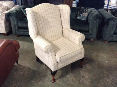 NATURAL PATTERNED CHECKERED WING CHAIR (TROO2085-W