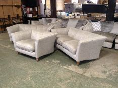 SILVER PATTERNED 2 X 2 SEATER SOFAS AND SNUG CHAIR
