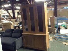 |X1|CORNDELL Nimbus Satin Oak Glazed Display Cabinet|W47-AUCTION2-2 COR-NSO1451|DAMAGED|BER|