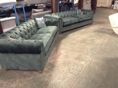 2 X GREEN CHESATERFIELD LARGE 3 SEATER SOFAS (MIS
