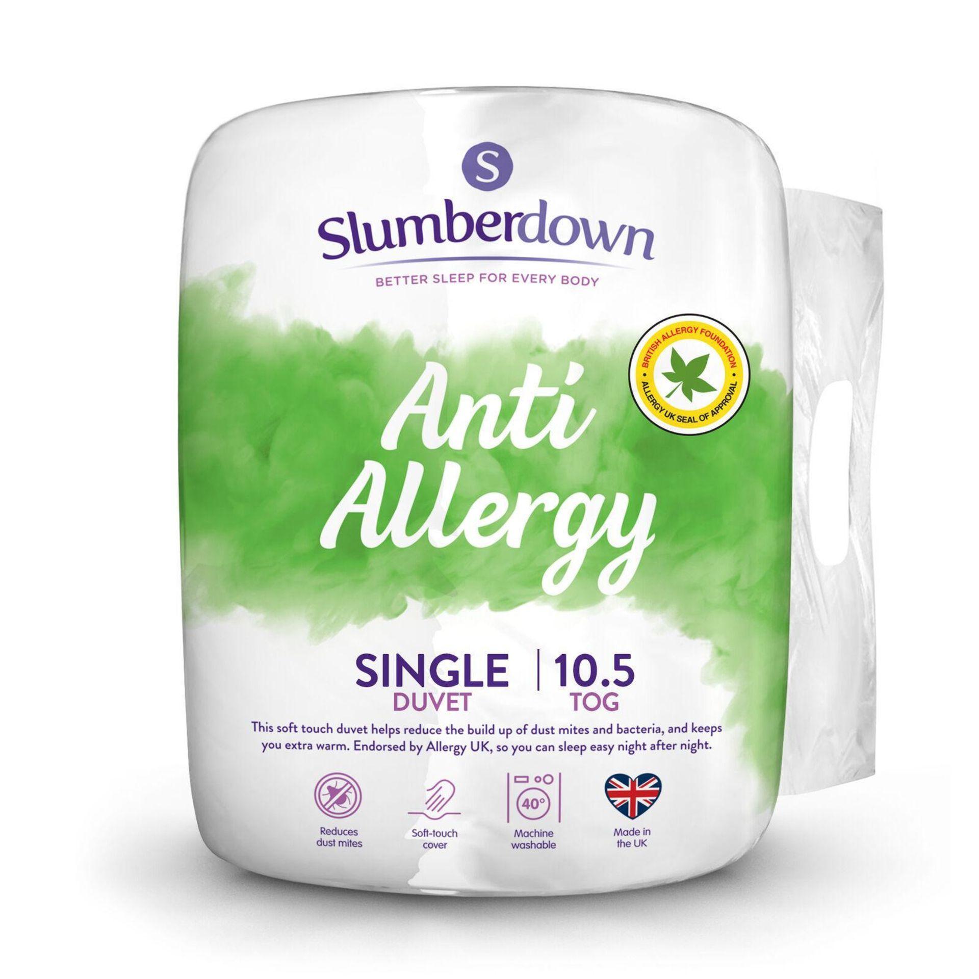 Slumberdown Anti Allergy Single Duvet 10.5 Tog All Seasons Duvet Single Bed - £14.99 RRP