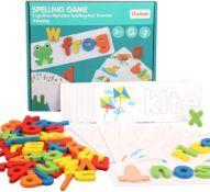 English Alphabet Blocks, Wooden Alphabet Letter Learning Cards Set, Kids Word Spelling £11.69 RRP