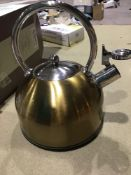 KitchenCraft Le'Xpress Induction Stove Top Whistling Kettle, Metal, Brass Finish