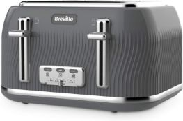 Breville VKT892 Flow 4-Slice Toaster with High-Lift and Wide Slots, Grey £42.99 RRP