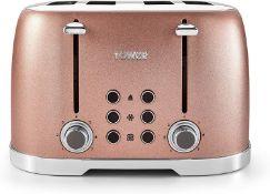 Tower 4-Slice Toaster, Blush Pink Glitz Sparkle - £49.99 RRP