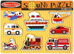 Melissa and Doug Vehicles Sound Puzzle | Puzzles | Wood | 2+ | Gift for Boy or Girl £10.99 RRP