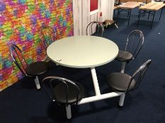 Metal Framed Round Timber Topped 6 Chair Seating Area