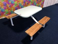 Metal Framed Rectangle Timber Topped 4 Section Bench Seating Area
