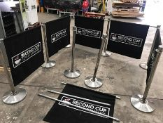 8no. Chrome Barrier Stands, 8no. Barrier Poles & 6no. Branded Fabric Barriers