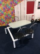 Metal Framed Rectangle Timber Topped 4 Chair Seating Area