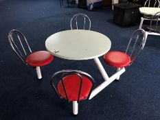 Metal Framed Round Timber Topped 4 Chair Seating Area