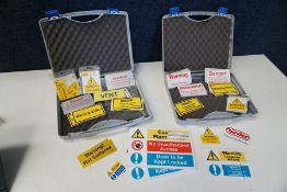 Quantity of Various Warning Signs and Stickers Complete with 2no. Carry Cases